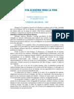PONTIFICIA ACADEMIA PARA LA VIDA Comunicado 1997