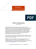 Marketing Plans Sample Acme MPpro