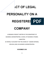 Effect of Legal Personality on a Registered Company