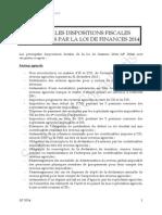 Loi de Finance 2014 - Note Technique SD