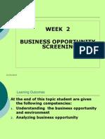 Week 2 Environment Screening