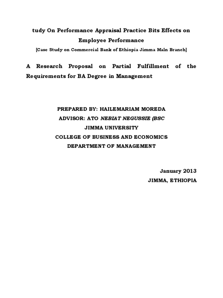 Research Proposal In Ethiopia
