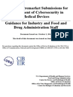 FDA Guidance - Content of Premarket Submissions for Management of Cybersecurity in Medical Devices, Oct 2, 2014
