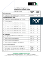 SBS List of Training Courses August 2014