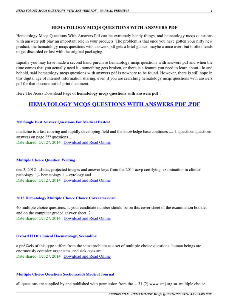 HEMATOLOGY MCQS QUESTIONS WITH ANSWERS PDF - Hematology-mcqs