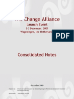 Consolidated Notes Change Alliance Launch 2-3 Dec 2009