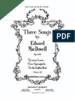Edward MacDowell 3 Songs Op.60