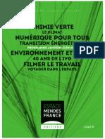 Programme de L'Espace Mendès France, janvier 2015