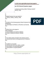 Rrb JE GK Previous Question Paper PDF
