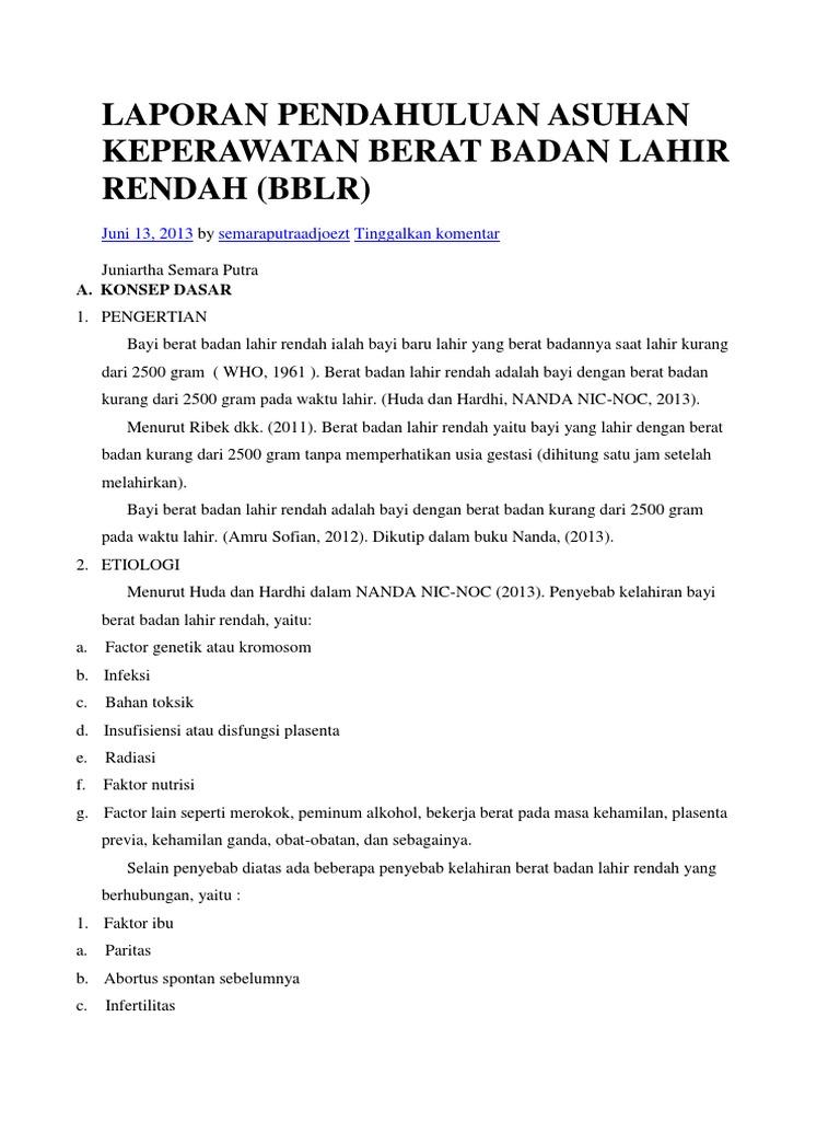 Asuhan Keperawatan Pada BAYI BERAT LAHIR RENDAH ( BBLR)