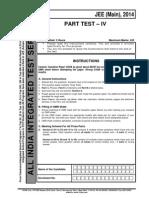 Aiits 2014 Part Test IV Main Paper Question Paper Aiits Pt IV Main 2014