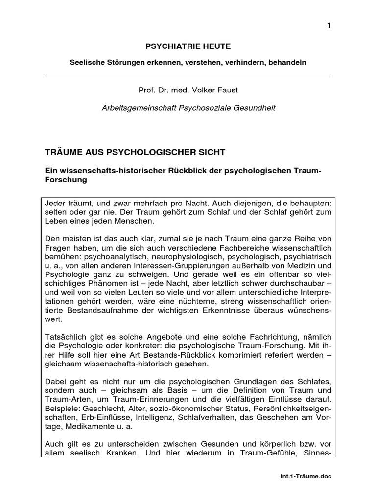 Abwehrmechanismen Freud Beispiele faust1_traeume
