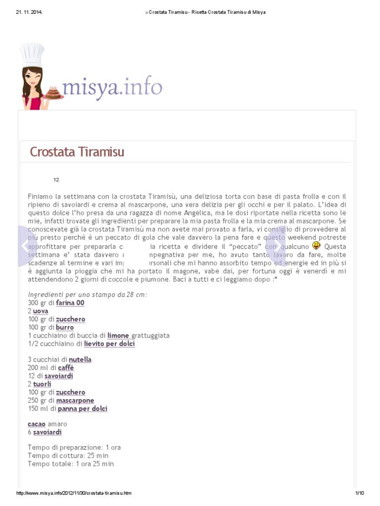Ricetta Tiramisu Di Misya.Crostata Tiramisu Ricetta Crostata Tiramisu Di Misya