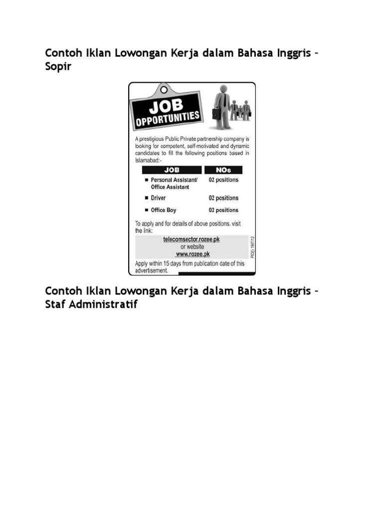 Contoh Iklan Lowongan Kerja Dalam Bahasa Inggris Docx