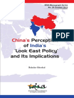 China's Perception of India's Look East Policy