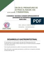 Nutricion Enteral y Parenteral en El Recien Nacido de Muy Bajo Peso Al Nacer