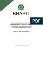 Discurso de Dilma Russef na Abertura da Assembléia Geral da ONU