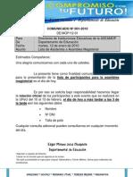 COMUNICADO 001-2010