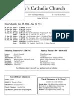 Bulletin for December 28, 2014