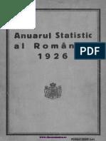 Anuarul Statistic Al României, 1926