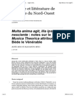 Notes Sur Le Musica Theorica Attribué à Bède Le Vénérable