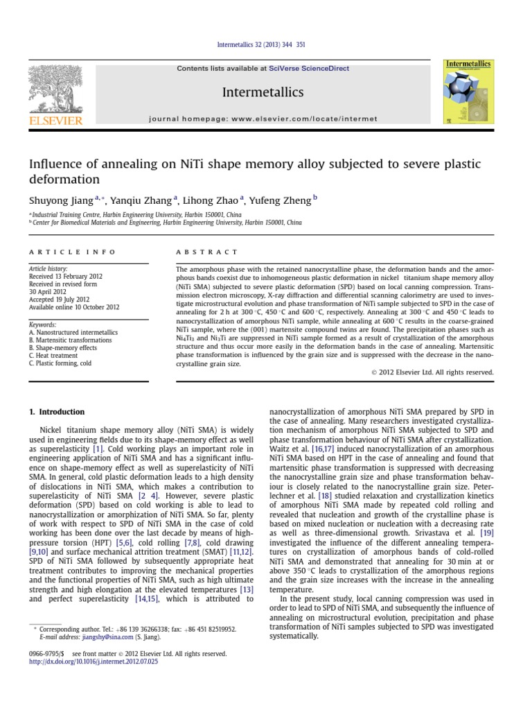 Influence of Annealing on NiTi Shape Memory Alloy Subjected
