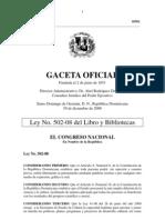 Ley del Libro y Bibliotecas de la República Dominicana, publicada el 30 de diciembre de 2008