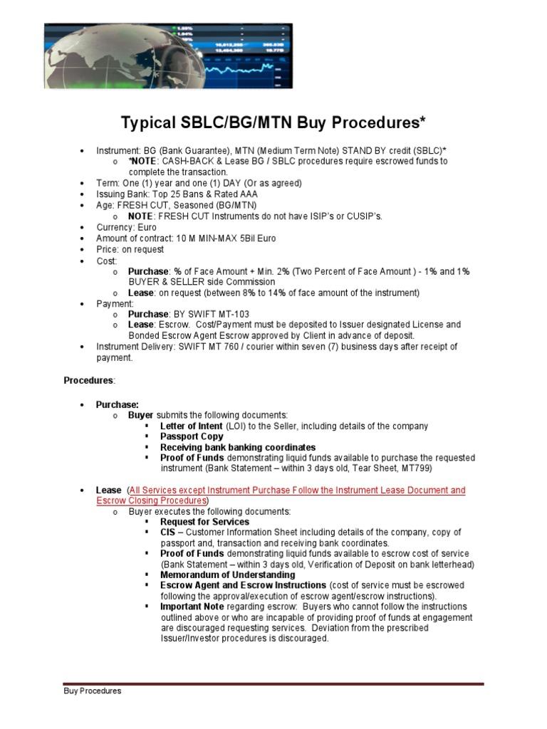 BG SBLC MTN Buy Procedures | Financial Transaction | Payments