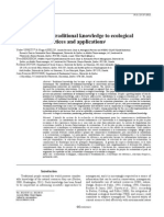 Contribution of Traditional Knowledge to Ecological Restoration Practices and Applications