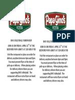 Papa Ginos Fundraiser