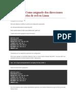 Como Asignarle Dos Direcciones IP a Una Interfas en Linux