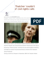 N Ireland Thatcher 'Couldn't Understand' Civil Rights Calls