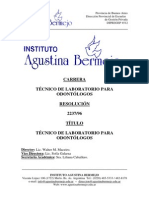 Tecnico de Laboratorio Para Odontologos. Resolucion 2237 96
