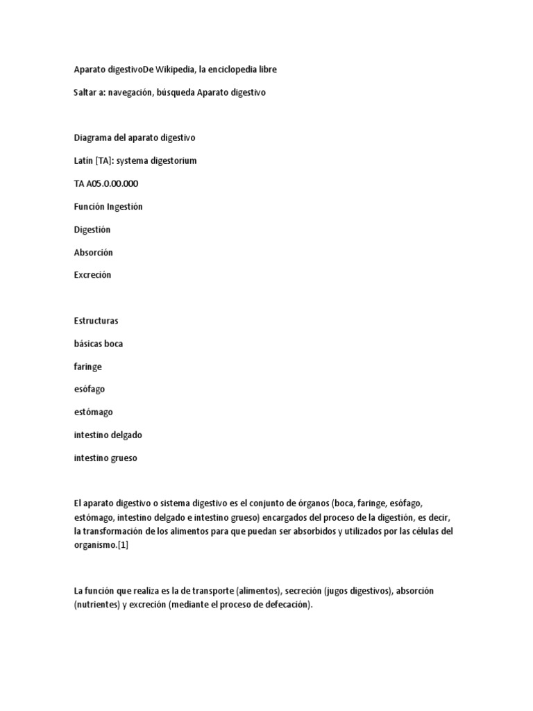Aparato Digestivo Informacion Recolectada