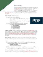 Module 1 Analyses Checklist