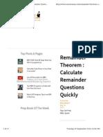Remainder Theorem