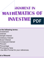 Assignment in Math of Investment