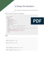 C Programming - Program to Swap Two Numbers