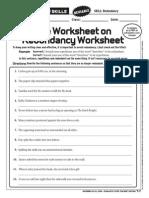 Redundancy Worksheet 4