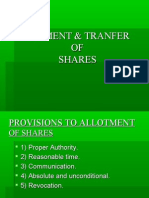 Allotment&Transfer of Shares