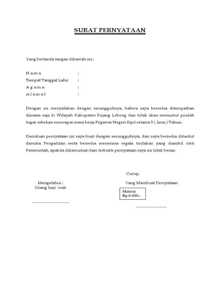 Contoh Surat Pernyataan Bersedia Ditempatkan Dimana Saja ...