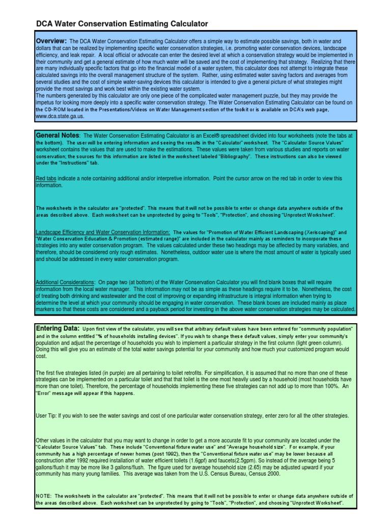 worksheet Promotion Point Worksheet Calculator water conservation estimating calculator hydrology
