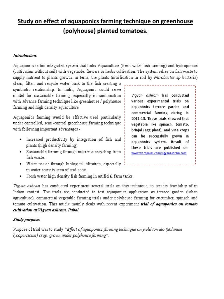 Short note - Aquaponics tomato pdf | Aquaponics