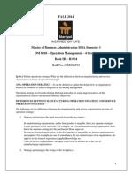 FALL 2014 Operation Management OM 0010