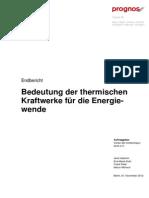 2012 Prognos Studie Bedeutung Thermischer Kraftwerke