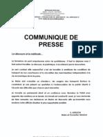 Mairie Macouria communiqué de presse 20100108