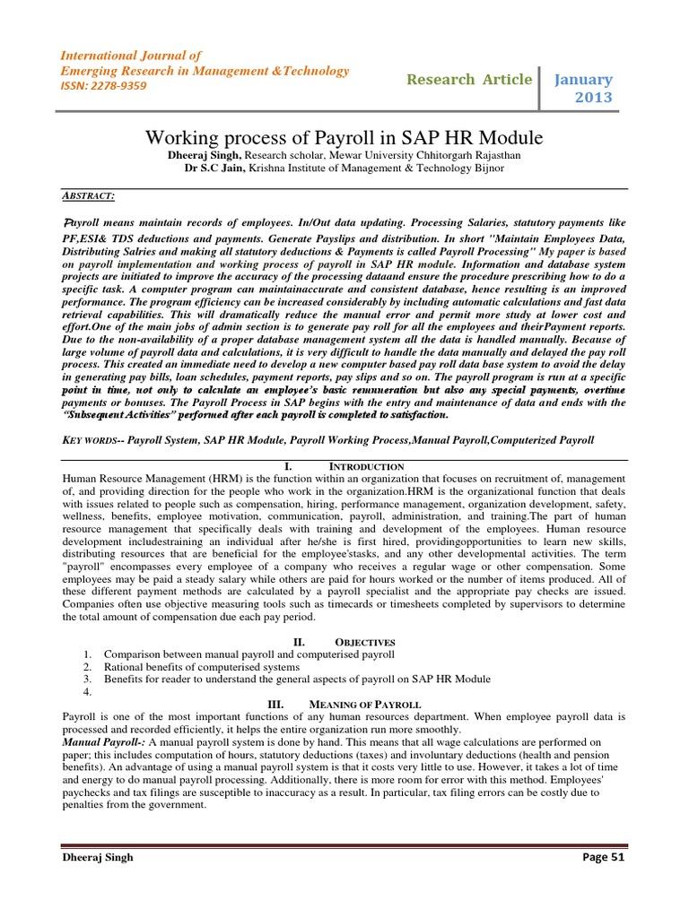 Working process of Payroll pdf | Payroll | Human Resource