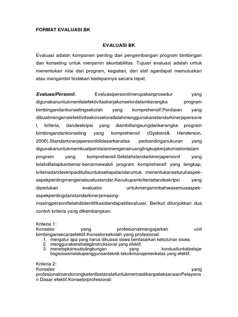 Contoh Format Evaluasi Bk