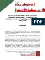 Transcriere Discurs - Presedinte PSD Victor Ponta - Legea Bugetului de Stat Si Legea Bugetului Asigurarilor Sociale - Parlament - 03.12.2013