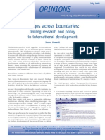 Linking Research and Policy in International Development